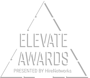 Elevate Awards Logo - White sans-serif type inside a triangle